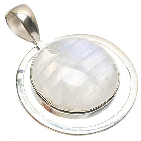 stargems (TM) natürlichen Regenbogen Mondstein indischen handgefertigt 925Sterling Silber Anhänger