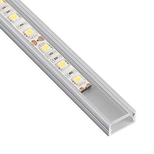DL1407 - Perfil de aluminio 6063, 1m, para tiras LED, con cubierta transparente, tapas y grapas de montaje incluidas