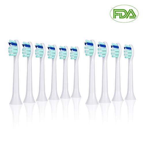 OTraki 10 Pack Sonic Brush Heads 2 Shape Replacement Toothbrush Head Compatible with Philips Sonicare Electric Toothbrushes Fits DiamondClean, HealthyWhite, FlexCare, EasyClean, Essence + EINWEG