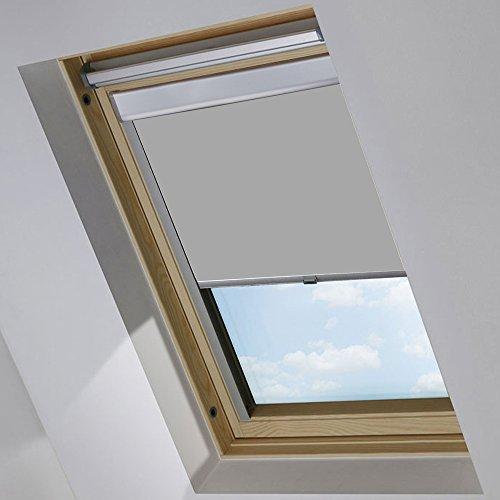 MCTECH Dachfenster Rollo Sonnenschutz Verdunkelung Thermorollo Jalousien Rollos (M06/306, Grau)
