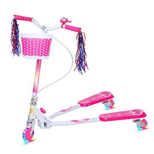 Gfone Tretroller Kinder Mini Kinderroller Kinderscooter Cityroller Dreiräder Roller Scooter 3 Räder Pink Blue mit Korb und Blinkenden LED-Rollen für Jüngere und Mädchen ab 5 Jahre (EU-Lager)