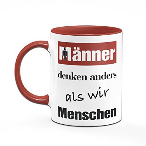 Bürotasse Männer denken anders als wir Menschen - Kaffeetasse - Tasse rot - Sprüchetasse - 2