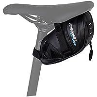 WOTOW Bolsa de sillín de Bicicleta Bolsa de Tubo Superior Bolsa de Bicicleta Bolsa de Bicicleta de montaña Bolsa de sillín con Tira Reflectante, Negro (Negro)