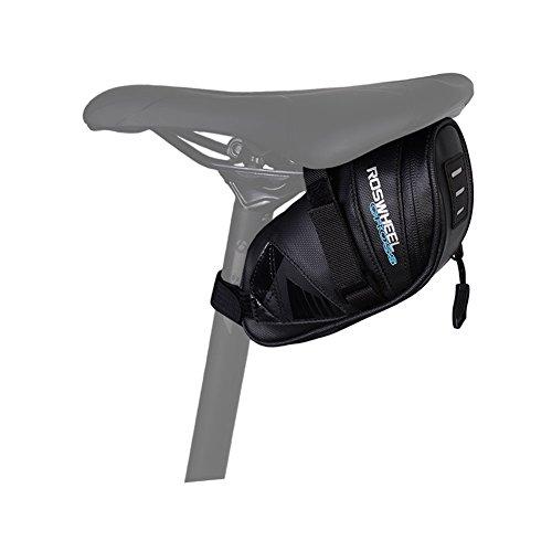 ROSWHEEL Regendicht Fahrrad Sattel Tasche, gewachst unter Sitz Bike Wedge Pack wasserabweisend mudproof Radfahren Schwanz PU Strap Mount Quick Release Aufbewahrung Bag Fahrradtasche für Outdoor MTB Road Bike S M L S (0. 6 L)