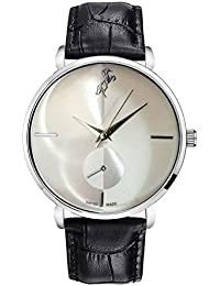 Style Keepers Horse Analog Ultra Thin Silver Bezel White Dial Genuine Black Leather Belt Wrist Man's Watch