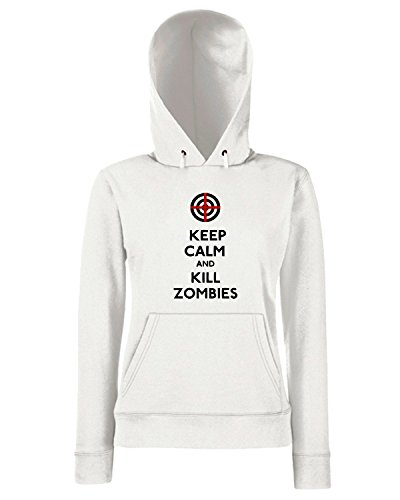 Cotton Island - Felpa Donna Cappuccio TZOM0007 keep calm and kill zombies, Taglia L