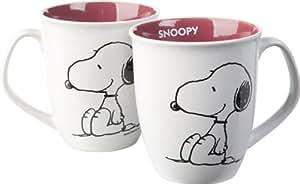 "Snoopy Keramik Henkelbecher Purple Inside, Motiv ""Sitting Dog"""