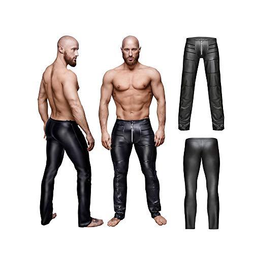 MTX- Bustini e corsetti Pantaloni Attillati in Pelle Sintetica Wetlook in Pelle Sintetica da Uomo con Pantaloni alla Moda con Cerniera (Dimensioni : M)