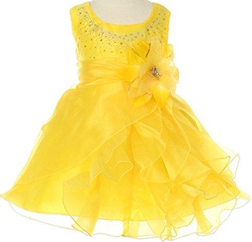 BNY Corner Baby &Infant Flower Girl Dress with Crystal Organza Cascading Ruffles Yellow L CC1101B
