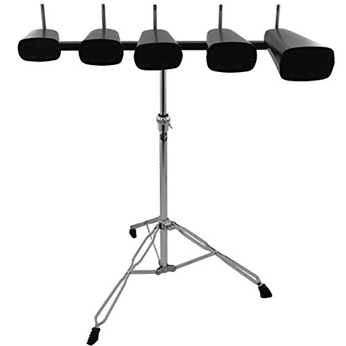 essentials-set-of-5-cow-bell-kit-with-adjustable-stand-black