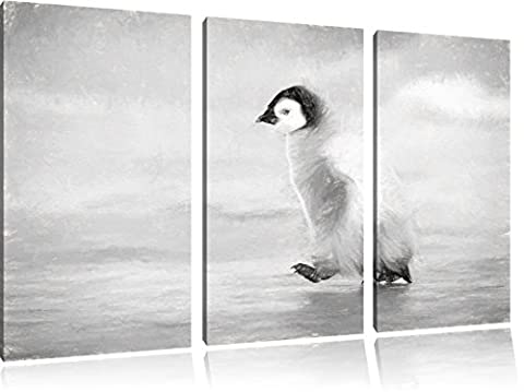 Cute Emperor Penguin chicks charcoal effect 3-piece canvas picture 120x80 image on canvas, XXL huge Pictures completely framed with stretcher, art print on mural frame gänstiger as painting or an oil painting, not a poster or banner,