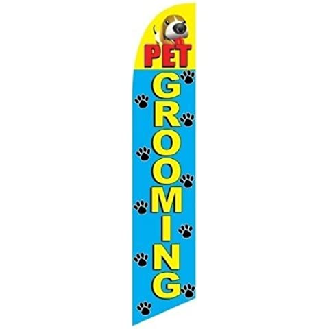 Swooper Advertising Flag Pet Grooming Paw Prints Puppy Yellow Red Blue by Super Ad Flag