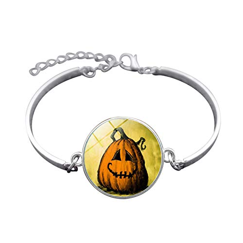 (Blisfille Handgemachte Halloween Kürbis Zeit Edelstein Armband Mode Armband Armband Herren Damen Karnevalsfeier)
