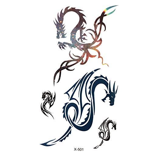 LBBMBC 20pcs Drache wasserdicht temporäre Tätowierung männlichen Flash-Tattoo Harajuku Tattoo Nagel Muster Body Art Aufkleber (Kind Der Drachen Kostüm Muster)