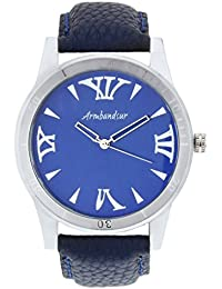 Armbandsur Analog blue dial silver case round Watch-ABS0017MBS