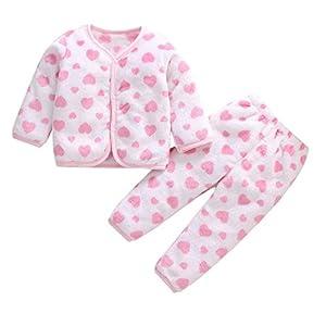 Babes Girls De Manga Larga Otoño Coral Polar Pijama Cálido Top + Pantalones De Dos Piezas Hacen Que Su Bebé Sea Más Atractivo Traje Oro_3 Millones_China 3