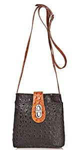 italienische Damen Umhängetasche Sydney aus echtem Leder zweifarbig schwarz und cognac braun, Made in Italy, Handtasche 20x21cm