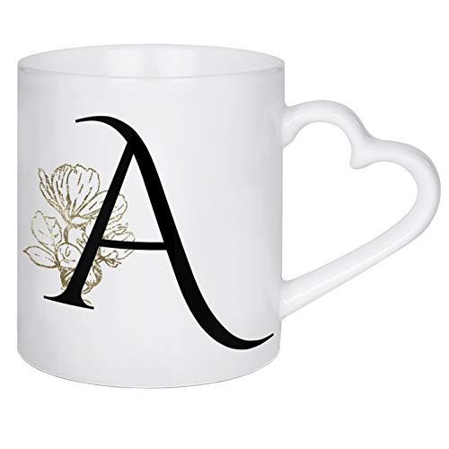 artboxONE Herztasse A ? Flowers Gold von Dunja Krefft - Herztasse Buchstaben/A