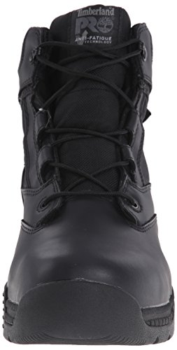 Timberland PRO Men s 6 inch Valor Soft Toe Waterproof Work Boot  Black Smooth Leather Ballistic Nylon  4 W US