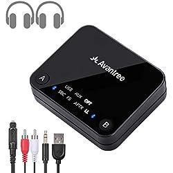 Avantree Audikast Transmetteur Bluetooth 4.2 pour TV, Toslink numérique Optimal, Technologie à Faible Latence aptX pour 2 Casques, RCA, Adaptateur Audio sans Fil, indicateurs LED