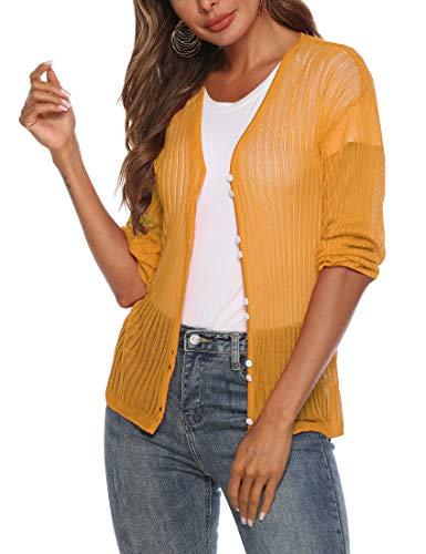 SIRUITON Damen Netz-Shirt Sexy Mesh Blouse Transparent Tüll Sommer Top Knit Cardigan Mesh Cardigan Long Sleeves Button up Loose Top, Medium(DE38-40), Gelb