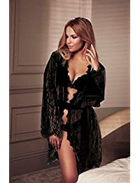 JOY Juego de pijamas de encaje de pestañas sexy sección larga de albornoz ...