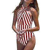XuxMim Frauen Plus Größe Streifen Verband gepolsterter BH Bikini Jumpsuit Badeanzug Beachwear(Rot,X-Large