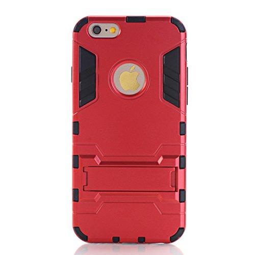 "OuDu iPhone 6/6S (4.7"") Hülle, Rüstungs Series Hülle für iPhone 6/6S (4.7"") TPU Silikon Etui Matte Harte Rückseite Schutzhülle Hard Tough Case Cover Hybride Dual-Layer Shell Logo Ausschneiden Tasche S Rot"