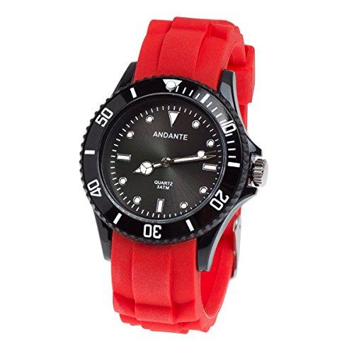 Band Herren-uhren-elastisches (Andante Sportliche Wasserdichte Unisex Armbanduhr Silikon Uhr Quarz 3ATM ROT SCHWARZ AS-5005)