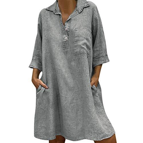 B-commerce Damen Solide Boho Umlegekragen Kleid Baumwolle und Leinen 3/4 Ärmel Lässige Tasche Knopf Lose ()