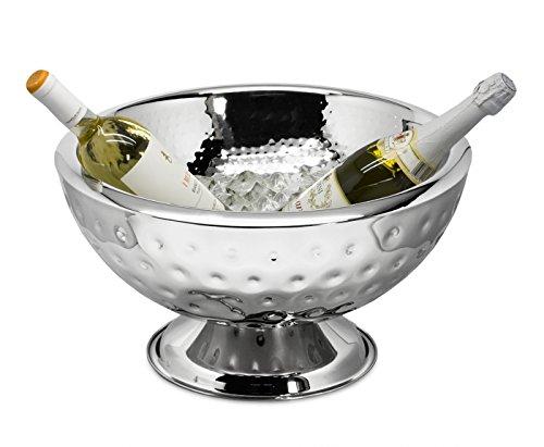 EDZARD Champagnerkühler / Schale Cadiz, innen und außen gehämmert, Ø43cm, Edelstahl