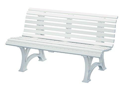 Preisvergleich Produktbild Sitzbank / Gartenbank 3er Design: Helgoland,  Länge 150cm,  weiß (hochwertiger Kunststoff,  Parkbank Made in Germany)