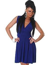 Jela London Damen Kleid V-Ausschnitt Ärmellos Cocktailkleid Partykleid Knielang Abendkleid