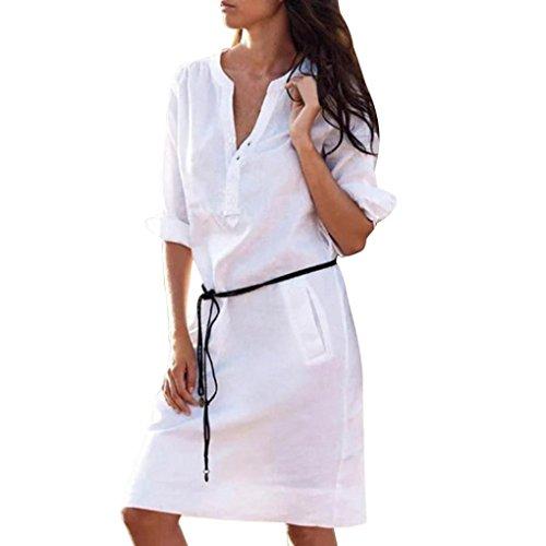 VEMOW Sommer Herbst Mid-Season Elegante Damen Frauen Maxi Half Sleeve Tasten mit V-Ausschnitt Kleid Casual Daily Party Strand lose dünne Tasche Shirt Kleider(Weiß, EU-42/CN-M) -