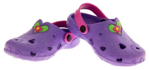 De Fonseca Plage Sabots Mule Sandales Filles Coeur Vert Violet