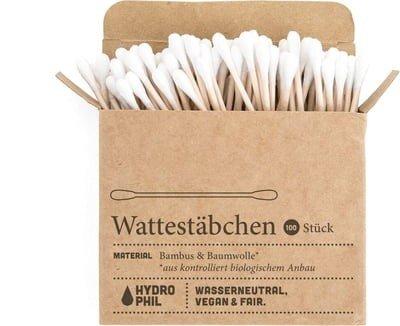 HYDROPHIL - Cotons-tiges en bambou - Nettoyer efficacement les oreilles - Ecofriendly - 100% végétalien - Biodégradable - Fairtrade - Cruelty Free - 100 pièces