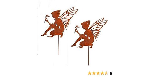 Fee Elfe 86cm Metall Rost Gartendeko Edelrost Gartendekoration Rost Bornh/öft Gartenstecker Zauber