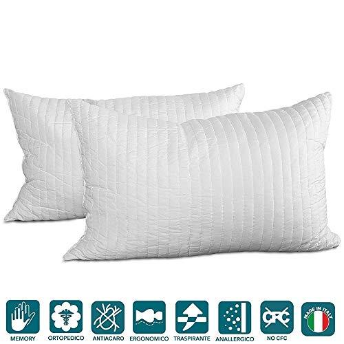 Evergreenweb - migliore coppia cuscini fiocco memory foam ottimi per dolori cervicali tessuto traspirante 2 guanciali modello saponetta 40x70 cm cuscino per il collo adatto a tutti materassi e letti