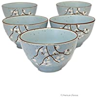 Set 5 Japanese Stoneware 10oz Asian Embossed Cherry Blossom Rice Bowls by American Chateau