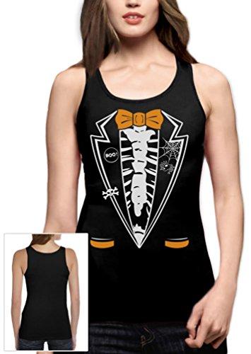 Halloween Skelett Smoking Frauen Schwarz XX-Large Tank (Kostüme Ideen Für Familie Halloween Nette)