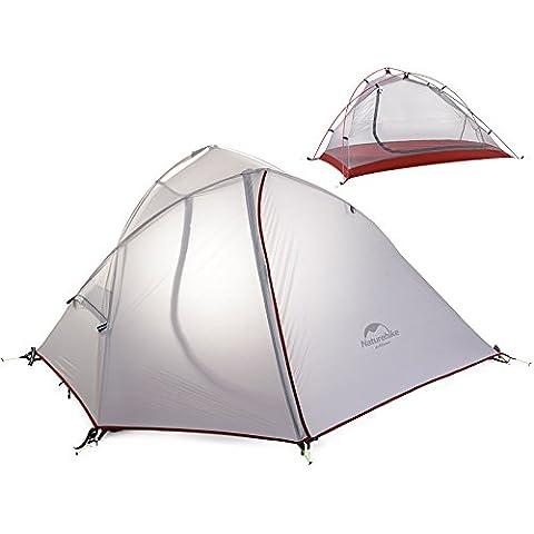 MaMaison007 Naturehike que 1-2 personas carpa doble capa a prueba de viento impermeable carpa al aire libre Camping excursiones de Canopy -2 blanco