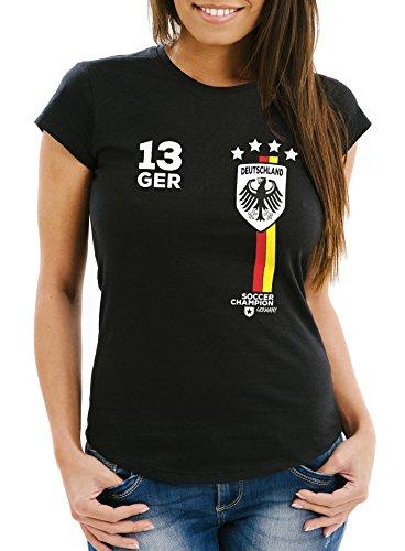 MoonWorks Damen T-Shirt Fanshirt Fußball EM WM Deutschland Trikot Slim Fit schwarz L