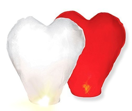 Sylaterne Himmelslaterne Skylaternen XXL Laterne Herz rot / reinweiß Herzballon Ballon Skyballon Hochzeit Liebe von Haus der Herzen  (2)