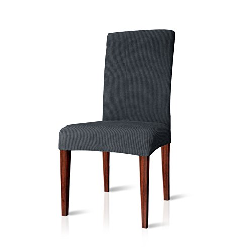 CHUN YI Jacquard Stuhlbezug Stretchhusse für Stuhl, mehrere Farben (4 Stück, Grau)