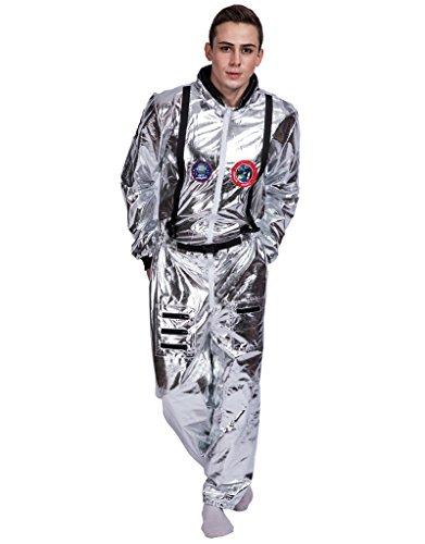 ronaut Kostüm Weltall Raumfahrer Anzug Spaceman Overall Outfit (Raumfahrer Kostüm Silber)