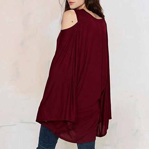 ... Mode fuer Frauen Langarm weg Schulter Base Shirt lose T Shirt  Oberseiten Bluse Rotwein ...