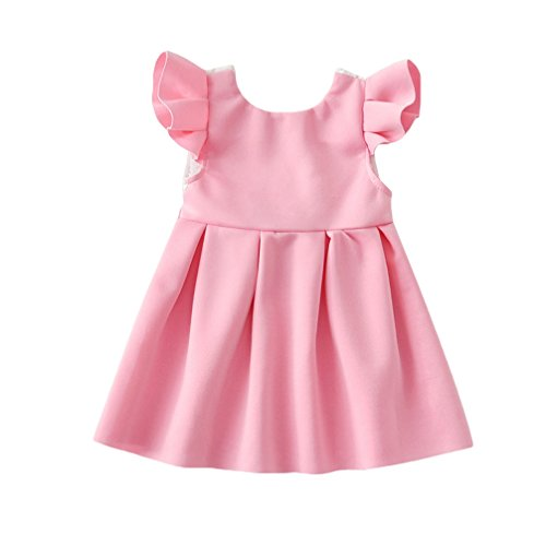 JEELINBORE Baby Mädchen Bowknot Spitze Prinzessin Party Kleid Kleinkinder Backless Skater-Kleid...