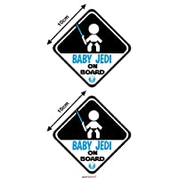 Autodomy Baby Jedi Boy Star Wars Baby on Board Baby in Car Stickers Pack 2 Units for Car (Internal Use)
