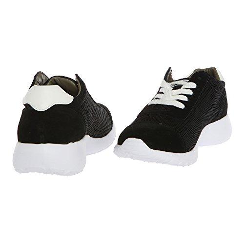 AVIREX Femme Sneakers, chaussures de sport avec lacets 161W81975 HARLIN Glace – Noir