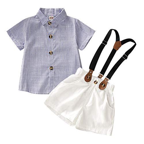 Haokaini Baby Boys Gentleman T-Shirt Hosenträger Shorts Set, Kleinkind Streifen Tops Hosen Outfits (Color : Blue Strap, Size : 2-3T) -